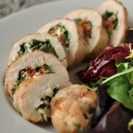 Grilled Chicken Breast Stuffed with Spinach, Sun-dried Tomatoes, and Goat