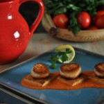 Scallops with Parmesan Polenta Cakes with Tomato Sauce