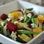 Roasted Beet and Fennel Salad with Haricots Verts, Avocado, and Roquefort Vinaigrette