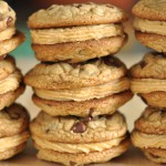 Chocolate Chip Peanut Butter Mousse Cookie Sandwiches