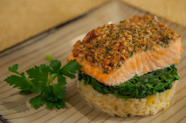 Pecan Encrusted Salmon with Delicata Squash Risotto and Sauteed ...