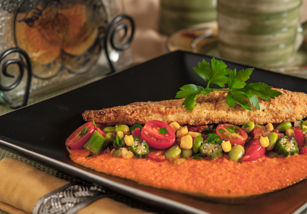 Pan Fried Catfish with Edamame Succotash and Roasted Red Pepper Sauce