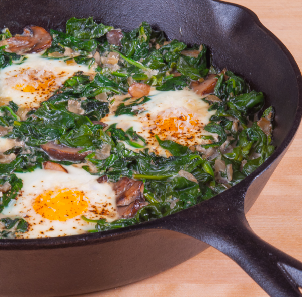Baked Eggs with Spinach and Mushrooms | Southern Boy Dishes