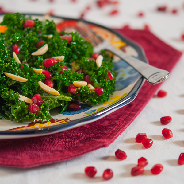Kale Salad with Slivered Almonds and Pomegranate Vinaigrette