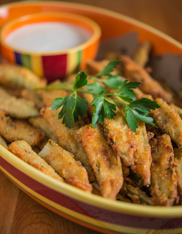 Fried Okra with Buttermilk Herb Sauce