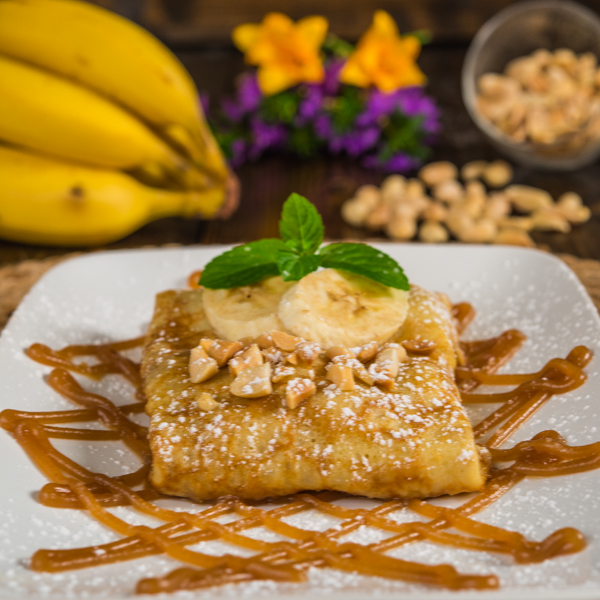 Caramelized Banana Crepes with Peanut Butter Sauce