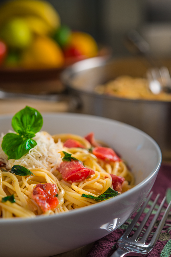 Linguine with Tomatoes Brie and Basil