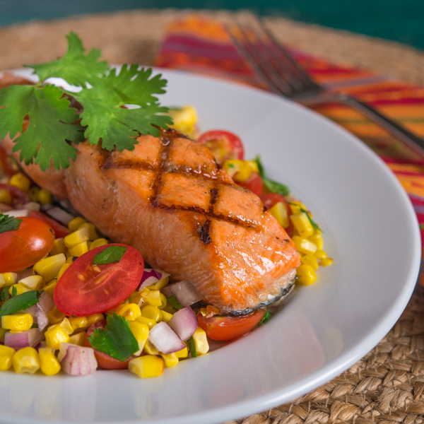 Grilled Salmon with Corn, Tomato, and Cilantro Salad