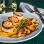 Sear Scallops with Sweet Potato Grits