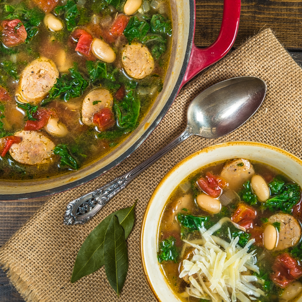 Chicken Sausage, Kale, and White Bean Soup