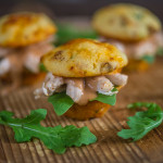Sliders with Smoked Chicken and Cheddar Sun-Dried Tomato Cornbread