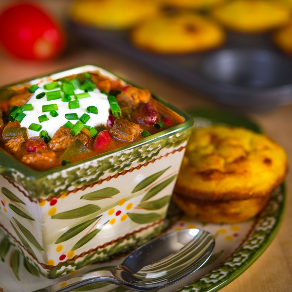 Beef and Guinness Chili with Jalapeño Cheddar Corn Muffins