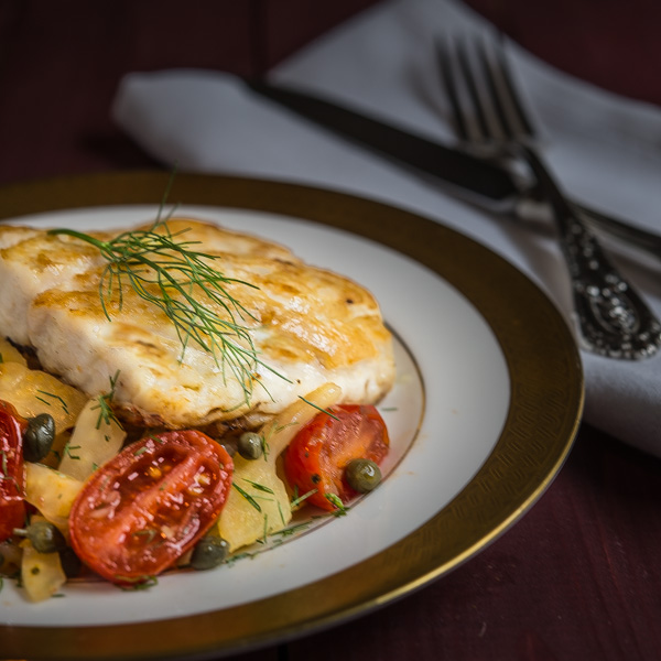 Pan-Seared Red Snapper with Fennel, Grape Tomatoes, and Capers