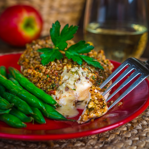 Pecan Encrusted Chicken Breast with Sage Butter Sauce