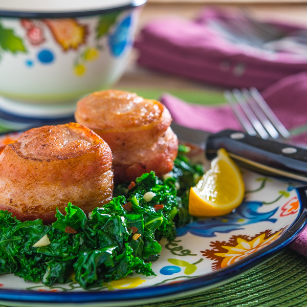 Bacon-Wrapped Turkey Tenderloin Filets with Sauteed Garlic Kale