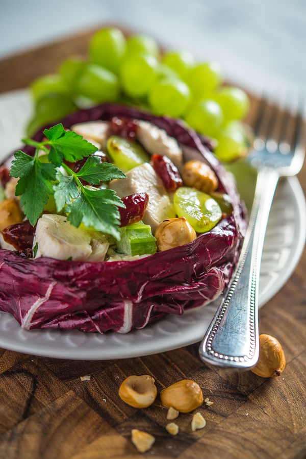 Chicken Salad with Grapes, Cherries, and Hazelnuts