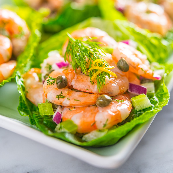 Shrimp Salad with Capers and Dill in Romaine Cups