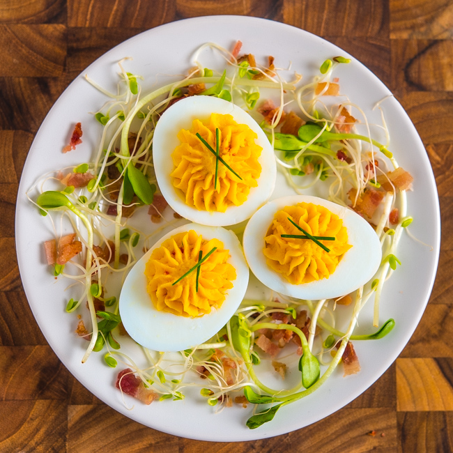 Pimento Cheese Deviled Eggs with Bacon