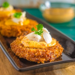 Fried Green Tomatoes with Crabmeat and Chipotle Tartar Sauce