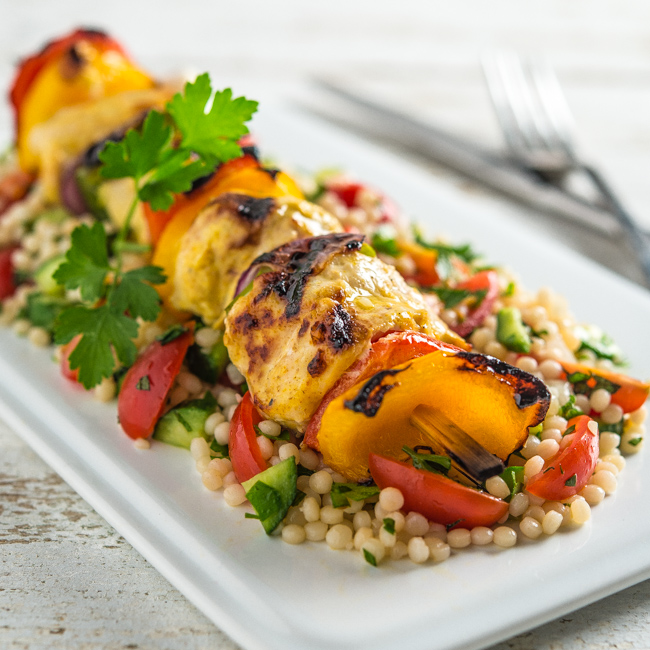 Middle Eastern Chicken Kabobs with Israeli Couscous Tabbouleh