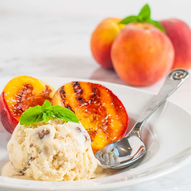 Grilled Peaches with Caramel Pecan Ice Cream
