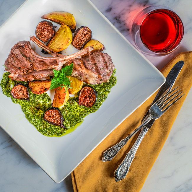 Grilled Lamb Chops with Mint Pesto and Roasted Golden Beets and Figs