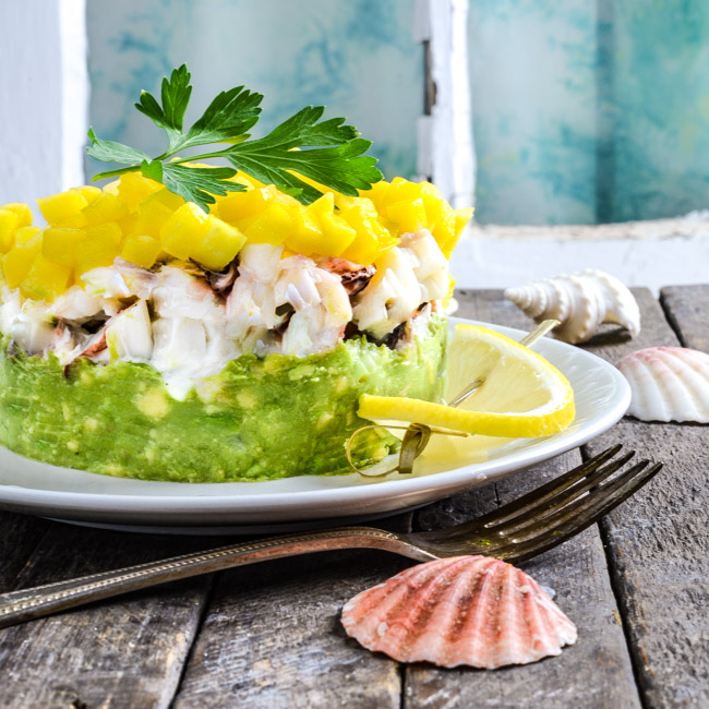 Lobster, Avocado, and Mango Stack