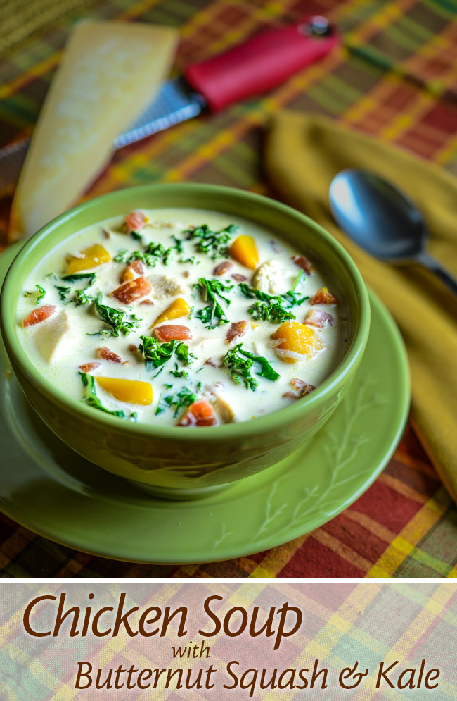 Chicken Soup with Butternut Squash and Kale