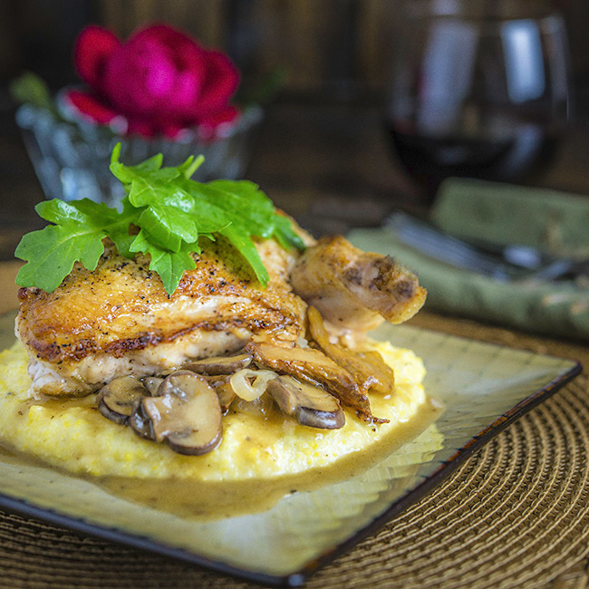 Pan-Seared Chicken with Parmesan Grits & Mushroom Gravy