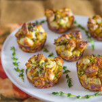 Apple, Bacon, & Cheddar Bread Puddings