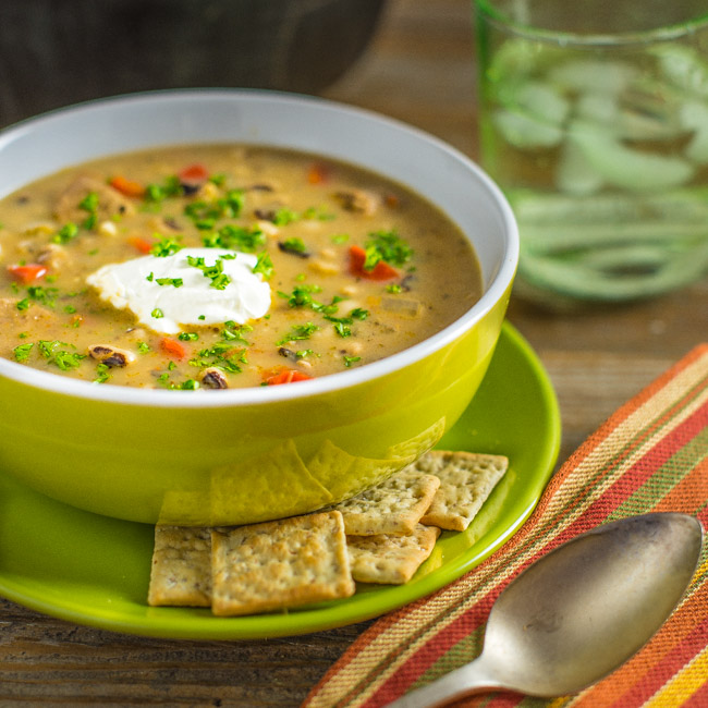 Black Eyed Peas Soup with Chicken Sausage
