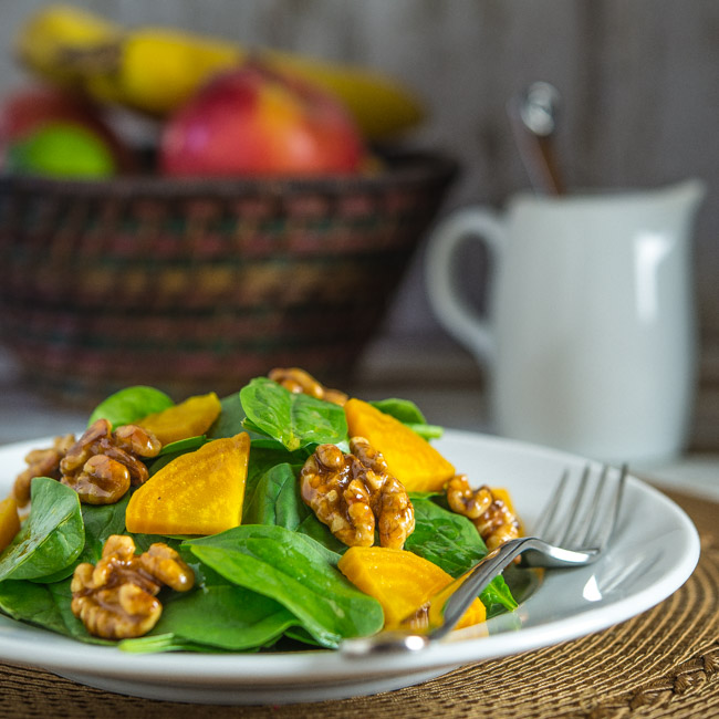 Spinach Salad with Candied Walnuts and Golden Beets | Southern Boy ...
