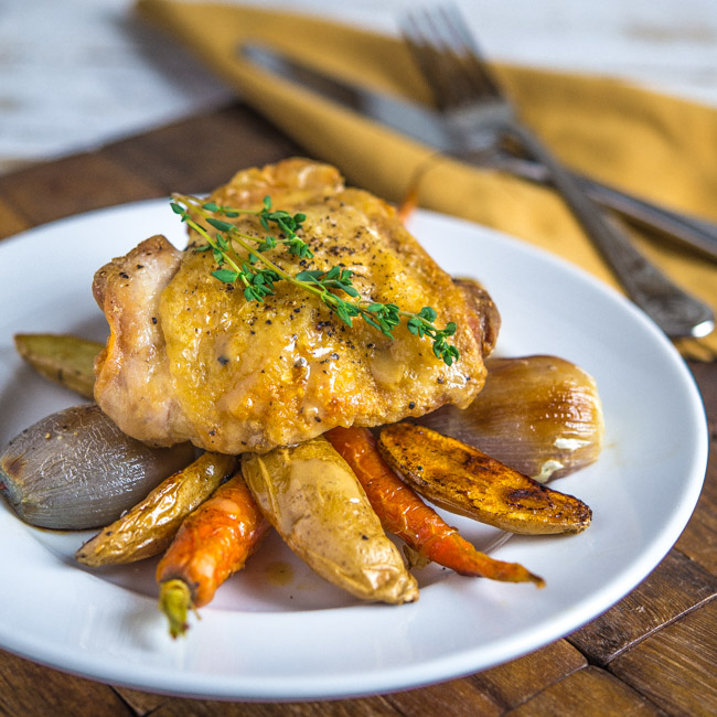 Roast Chicken and Vegetables with Maple Dijon Sauce