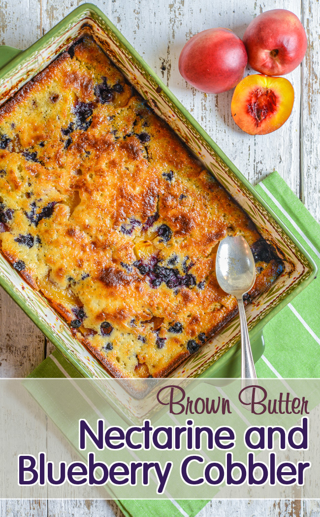 Brown Butter Nectarine and Blueberry Cobbler | Southern Boy Dishes