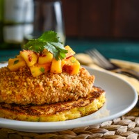"""Fried"" Chicken, Okra and Tomato Corn Cakes, and Chipotle Peaches"