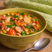 Black-Eyed Pea and Collard Stew with Turkey Sausage